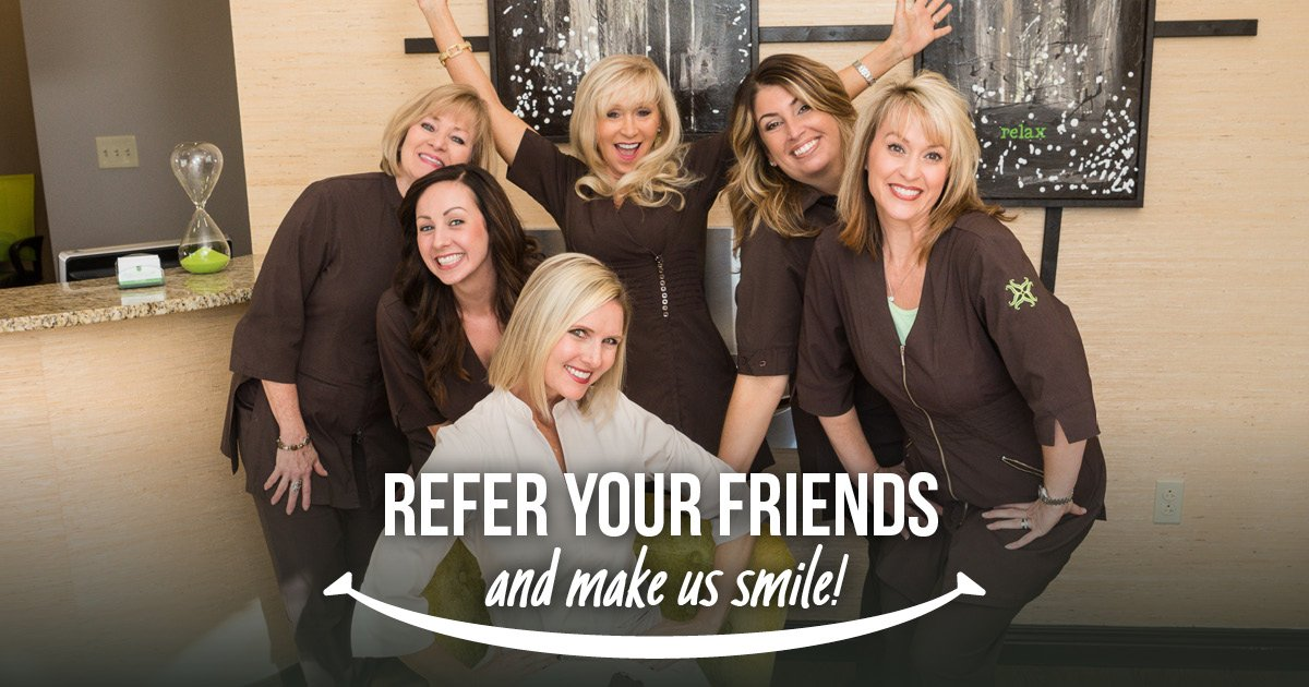 Refer a friend header: Refer your friends and make us smile over a team photo